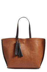 Phase 3 Whipstitch Tassel Faux Leather Tote Brown