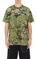 Givenchy Men's Camouflage And Money Print T Shirt Dark Green
