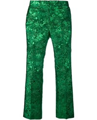 Gucci Iridescent Floral Brocade Trousers Green Blue