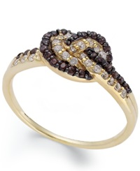 B. Brilliant Brown 1 5 Ct. T.W. And Clear 1 4 Ct. T.W. Cubic Zirconia Knot Ring In 18K Gold Over Sterling Silver