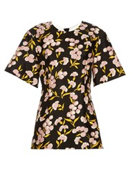 Marni Sistowbell Floral Print Cotton And Silk Blend Top Black Print