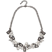 Adele Marie Faceted Cubic Zirconia Statement Necklace Silver Black