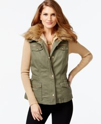Inc International Concepts Convertible Faux Fur Anorak Vest Only At Macy's Olive Drab