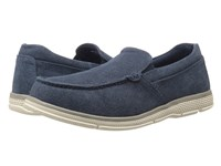 Nunn Bush Zane Twin Gore Moc Toe Slip On Indigo Canvas Men's Slip On Shoes Navy