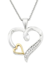 Macy's Diamond Accent Double Heart Pendant Necklace In Sterling Silver And 10K Gold Two Tone