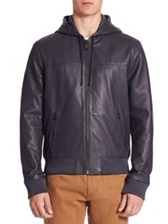 Saks Fifth Avenue Zip Front Hooded Leather Jacket Navy