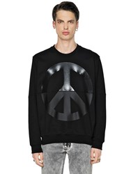 Love Moschino Peace Sign Printed Cotton Sweatshirt