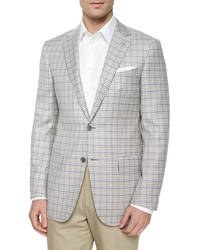 Ermenegildo Zegna Check Two Button Wool Jacket Cream Gray Tan