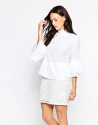 Minimum Tinna Bell Sleeve Blouse White