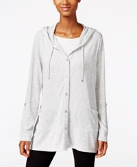 Styleandco. Style Co. Handkerchief Hem Button Front Hoodie Only At Macy's Light Grey Heather