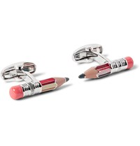 Paul Smith Pencil Silver Tone Enamelled Cufflinks Silver