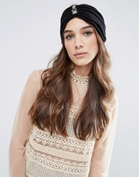 Asos Premium Pleated Embellished Turban Headband Black