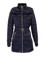 Morgan Belted Down Jacket With Faux Fur Collar Navy