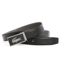 Lacoste Black Grey Reversible Leather Belt With Two Buckles Box Set
