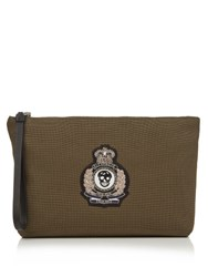 Alexander Mcqueen Crest Applique Canvas Pouch Green Multi