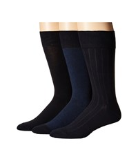 Cole Haan 3 Pack Nailhead Rib Solid Navy Men's Crew Cut Socks Shoes