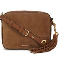 Michael Michael Kors Brooklyn Large Suede And Leather Camera Bag Dk Caramel