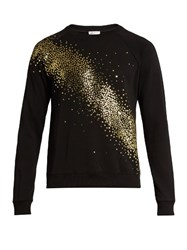 Saint Laurent Glitter Embellished Crew Neck Sweatshirt Black Multi
