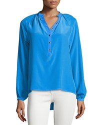Yumi Kim Trina Long Sleeve Pleated Blouse Blue
