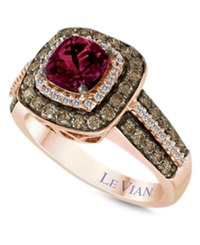 Le Vian Raspberry Rhodolite Garnet 1 Ct. T.W. And White And Chocolate Diamond 3 4 Ct. T.W. Square Statement Ring In 14K Rose Gold