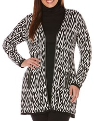 Rafaella Plus Plus Geometric Printed Jacquard Duster Cardigan Black