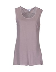 James Perse Standard Topwear Sleeveless T Shirts Women Dove Grey
