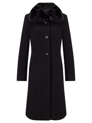 Gerry Weber Faux Fur Collar Wool Coat Black