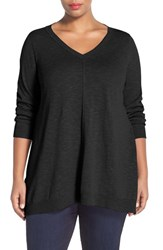Plus Size Women's Eileen Fisher Organic Linen And Cotton V Neck Knit Tunic Black