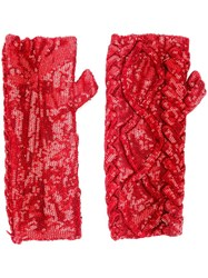 Filles A Papa 'Erin' Sequin Embellished Fingerless Gloves Red