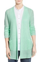 Women's Eileen Fisher Organic Linen Straight Cardigan Green Mint