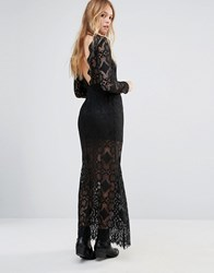 Ebonie N Ivory Low Back Lace Maxi Dress Black