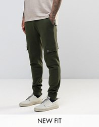 Asos Skinny Joggers In Dark Khaki With Cargo Pockets Hunter Green