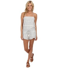 Roxy Cape Canyon Halter Neck Romper Island Stripe Patriot Blue Women's Jumpsuit And Rompers One Piece White