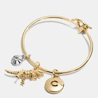Coach Rexy Disc Hoop Bangle Charm Set Gold Silver