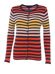 Lands' End Stripe Supima Fine Gauge Cardigan Cleo Blue Stripe