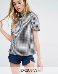 Reclaimed Vintage Liquid Lunch High Neck Top With Bow In Gingham Black