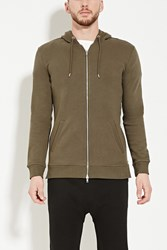 Forever 21 Longline Zipped Hoodie Olive