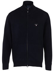 Gant Full Zip Cotton Cardigan Navy