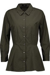 Theory Eyodis Cotton Peplum Shirt Army Green