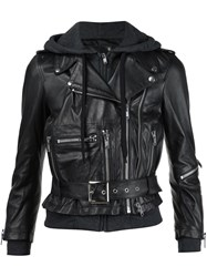 R 13 R13 Hooded Biker Jacket Black