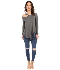 Brigitte Bailey Cassidy Long Sleeve Ripped Top Charcoal Women's Clothing Gray