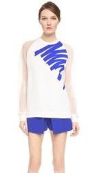 Thierry Mugler Long Sleeve Top Off White Electric Blue