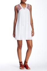Trixxi Sleeveless Lace Up Dress White