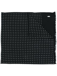 Polo Ralph Lauren Polka Dot Logo Embroidered Scarf Black