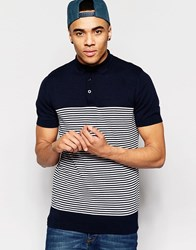 Brave Soul Knitted Stripe Polo Navy