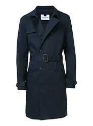 Topman Men's Navy Trench Coat Dark Blue