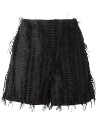 Chalayan 'Nothing' Frayed Shorts Black
