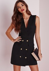 Missguided Crepe Tailored Gold Button Shift Dress Black Black