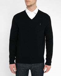 Polo Ralph Lauren Black Lambswool V Neck Sweater