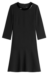 Ralph Lauren Black Label Wool Dress With Patent Collar Black